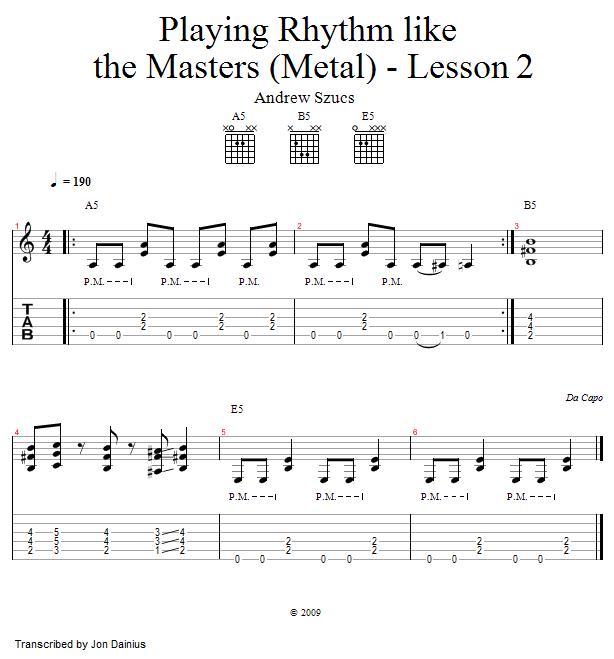 Guitar metal guitar tabs : Playing Rhythm Like The Masters: James Hetfield - Guitar Metal